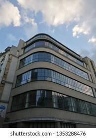 paris, france - march 21 2019 : bauhaus style building at Mazarine street