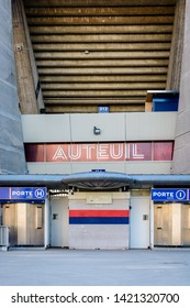 "Paris, France - March 21, 2019: The gate H and I giving access to the ""Auteuil"" grandstand in the Parc des Princes stadium built in 1972 and home stadium of Paris Saint-Germain (PSG) football club."