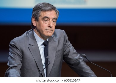 PARIS, FRANCE - MARCH 22, 2017 : Francois Fillon speaking during the Exceptional gathering of mayors of France in the context of the presidential elections.