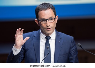 PARIS, FRANCE - MARCH 22, 2017 : Benoit Hamon speaking during the Exceptional gathering of mayors of France in the context of the presidential elections.