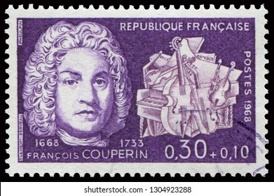 Paris, France - March 23, 1968: Portrait of Francois Couperin (1668-1733), famous French Baroque composer Composer. Stamp issued by French Post in 1968.