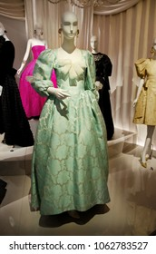 Paris, France - March 24, 2014: Exhibition of haute couture dresses in Yves Saint Laurent Museum.History of fashion