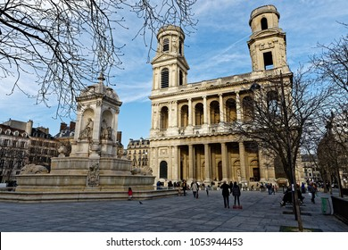 Paris, France - March 24, 2018: Dan Brown's 2003 novel The Da Vinci Code, an international bestseller that brought crowds of tourists to Saint-Sulpice church