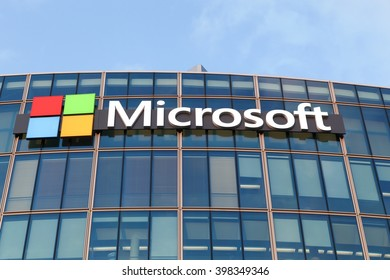 Paris, France - March 25, 2016:Microsoft is an American multinational technology company that develops, manufactures, licenses, supports and sells computer software and personal computers and services