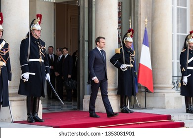 PARIS, FRANCE - MARCH 25, 2018 : The french president Emmanuel Macron at Elysee Palace during the state visit of the chinese president.