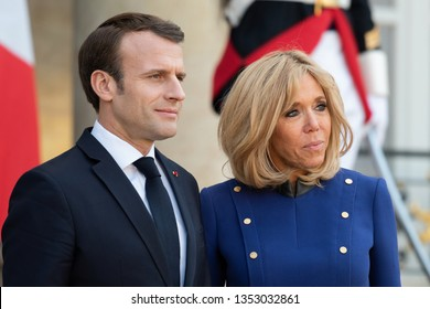 PARIS, FRANCE - MARCH 25, 2018 : The french president Emmanuel Macron with his wife Brigitte Macron at Elysee Palace during the state visit of the chinese president.