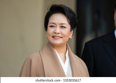 PARIS, FRANCE - MARCH 25, 2018 : Wife of the Chinese President Peng Liyuan at Elysee Palace during state visit in France of his husband.