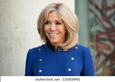 PARIS, FRANCE - MARCH 25, 2018 : Brigitte Macron, the wife of the french Prsident at the Elysee Palace during state visit of the  chinese President in France.