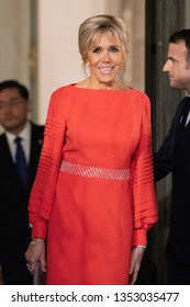 PARIS, FRANCE - MARCH 25, 2018 : Brigitte Macron, the wife of the french Prsident at the Elysee Palace during for diner and state visit of the  chinese President in France.