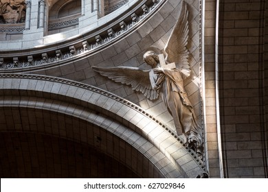 Paris, France, March 26, 2017: Interior of Roman Catholic church and minor basilica Sacre-Coeur