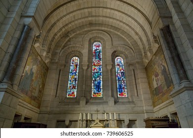 Paris, France, March 26, 2017: Interior of Roman Catholic church and minor basilica Sacre-Coeur.