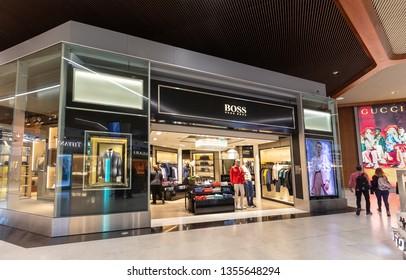 fbf2cdf054a PARIS, FRANCE - MARCH 26, 2019: Hugo Boss store. Hugo Boss AG
