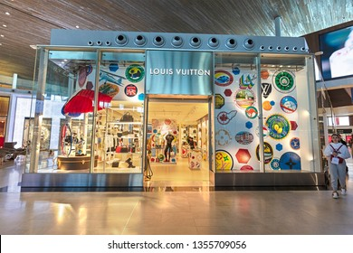 PARIS, FRANCE - MARCH 26, 2019: Louis Vuitton store; Louis Vuitton, a French fashion house founded in 1854, operates more than 460 stores worldwide.
