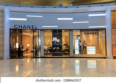 PARIS, FRANCE - MARCH 26, 2019: Chanel store at the Paris Charles de Gaulle Airport. Chanel S.A. is a high fashion house, founded in 1909; there are about 310 Chanel boutiques worldwide.