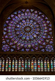 Paris, France, March 27 2017: stained glass window in Notre dame cathedral, Paris