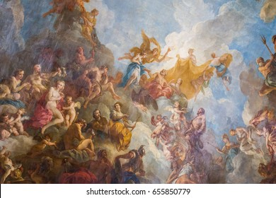 Paris, France, March 28 2017: Ceiling painting in Hercules room of the Royal Chateau Versailles at the Palace of Versailles near Paris, France