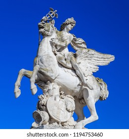Paris, France, March 28 2017:The statue of Renommee, or the fame of the king, riding the horse Pegasus on March 27, 2014 in Paris. Now the sculpture is at the west entrance of the Tuileries Garden
