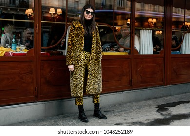 PARIS, FRANCE - MARCH 3, 2018: Fashion Editor Giovanna Battaglia Engelbert after ALTUZARRA show at Paris Fashion Week FW'18-19