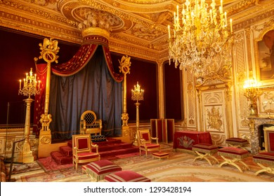 Paris, France, March 31, 2017: Fontainebleau Palace interiors. The Throne Room. Chateau was one of the main palaces of French kings