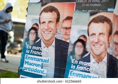 PARIS, FRANCE - MARCH 31, 2017 : Emmanuel Macron campaign posters for the 2017 french presidential election.