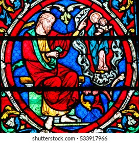 PARIS, FRANCE - MARCH 4, 2011: Stained Glass in Notre Dame Cathedral of Paris depicting part of the Tree of Jesse
