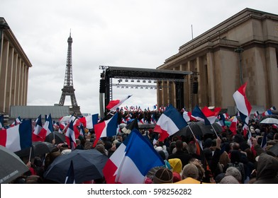 PARIS, FRANCE - MARCH 5, 2017 :  Rally to support French presidential election candidate Francois Fillon at Trocadero. He is the right-wing Les Republicains party candidate.