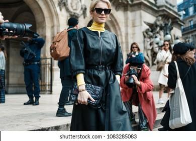 PARIS, FRANCE - MARCH 5, 2018: Caroline Daur after STELLA MCCARTNEY show at Paris Fashion Week Fall / Winter 2018-2019