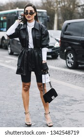 Paris, France - March 5, 2019: Street style outfit -  Camila Coelho before a fashion show during Paris Fashion Week - PFWFW19