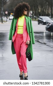 Paris, France - March 5, 2019: Street style outfit -  Leila Depina before a fashion show during Paris Fashion Week - PFWFW19