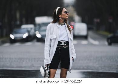 Paris, France - March 5, 2019: Street style outfit -  Loulou De Saison before a fashion show during Paris Fashion Week - PFWFW19