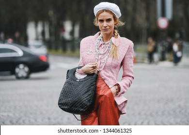 Paris, France - March 5, 2019: Street style outfit -  Blanca Miro before a fashion show during Paris Fashion Week - PFWFW19