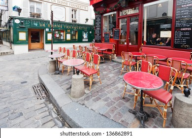 PARIS, FRANCE - MARCH 5: tables on Place Jean-Baptiste-Clement in Paris on March 5, 2013. Monsieur Clement was Mayor of Montmartre during 70 days of the 1871 Commune, when this area seceded from Paris