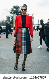 PARIS, FRANCE - MARCH 6, 2018: Fashion Editor Giovanna Battaglia Engelbert after CHANEL show at Paris Fashion Week Fall / Winter 2018-2019
