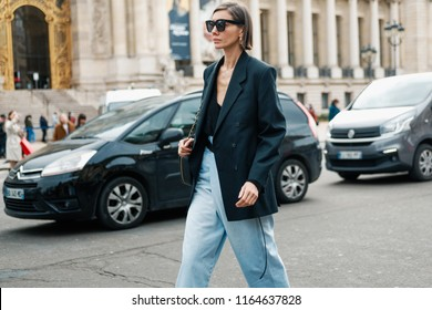 PARIS, FRANCE - MARCH 6, 2018: Julie Pelipas, fashion director for VOGUE Ukraine, after CHANEL show at Paris Fashion Week Fall / Winter 2018-2019