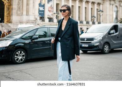 PARIS, FRANCE - MARCH 6, 2018: Julie Pelipas, fashion director for VOGUE Ukraine, after CHANEL show at Paris Fashion Week Fall / Winter 2018-2019