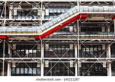 PARIS, FRANCE - MARCH 6: facade of Centre Georges Pompidou. The Centre the third most visited Paris attraction with about 5.5 million visitors per year, in Paris, France on March 6, 2013