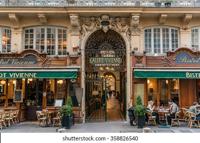 PARIS, FRANCE - MARCH 8, 2015: Galerie Vivienne (1823). Vivienne Covered Passage is 176 meters long, with shops, restaurants and tourist attraction.
