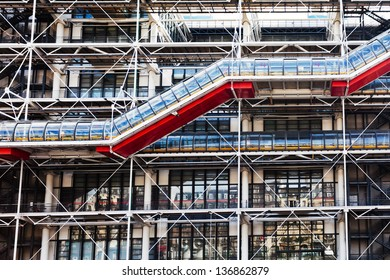 PARIS, FRANCE - MARCH 9: facade of Center Georges Pompidou. The Centre the third most visited Paris attraction with about 5.5 million visitors per year, in Paris, France on March 9, 2013