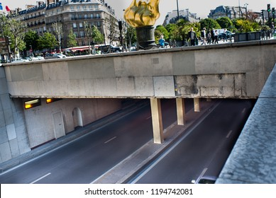 PARIS, FRANCE - MAY 07, 2011: The Pont de l'Alma tunnel where Princess Diana was fatally injured in a car crash. Above the tunnel the Flame of Freedom or Liberty, is now a tribute to the Princess.