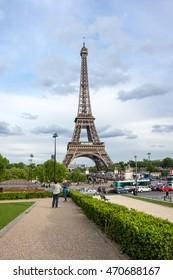 PARIS, FRANCE - MAY 07, 2015: View at famous Tour Eiffel in Paris, France