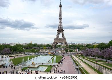 PARIS, FRANCE - MAY 07, 2015: View at famous Tour Eiffel in the evening, Paris, France