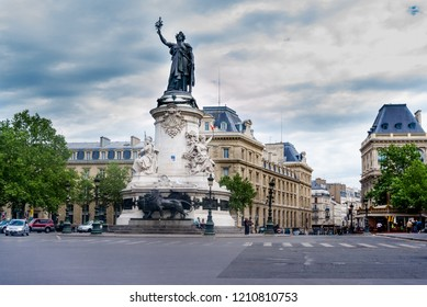 Paris, France - May 08, 2011:The Place de la République in Paris and the monument which includes a statue of the personification of France, Marianne. It was completed in 1879.