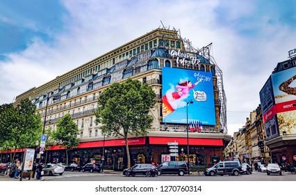 Paris, France - May 08, 2017: Galeries Lafayette exterior with advertising hoarding boulevard hausmann Paris France EU Europe