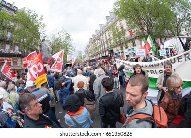 PARIS, FRANCE - MAY 1, 2010 : Crowds Gathers In A Peace Rally During Labour Day In A Street Of Midtown Paris.