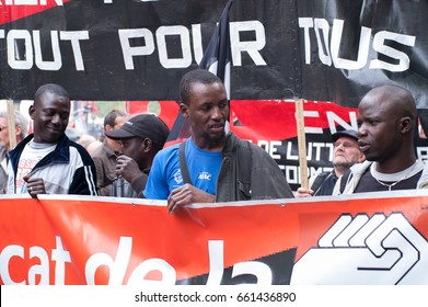 PARIS, FRANCE - MAY 1, 2010 : Crowds In A Peace Rally During Labour Day In A Street Of Midtown Paris.