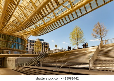 Paris, France - May 1, 2016: People looking the new canopy of Forum des Halles mall in Paris.