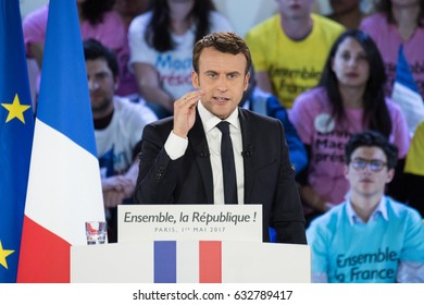 PARIS, FRANCE - MAY, 1, 2017 : Emmanuel Macron in meeting, at Paris Event Center, for the french presidential election of 2017 with his political party en marche.