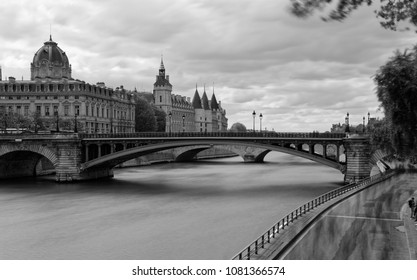 Paris, France - May 1, 2018: Castle Conciergerie - former royal palace and prison. Conciergerie located on the west of the Cite Island and today it is part of larger complex known as Palais de Justice
