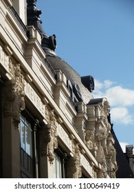 paris, france - may 1 2018 : roof of the BHV shop center (Bazar de l'Hotel de Ville).