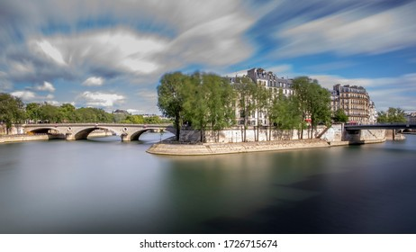 Paris, France - May 1, 2020: West end side of Ile St Louis in Paris. Long exposure photography